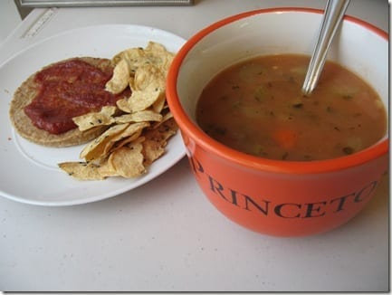 soup and veggie burger