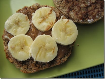 muffin with banana and almond butter