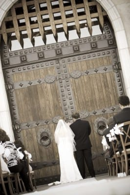wedding - standing in front of doors