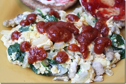 egg scramble with ketchup