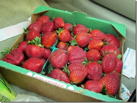 half a flat of strawberries