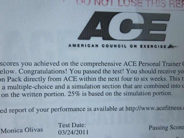 Personal Training Ace Personal Training Exam