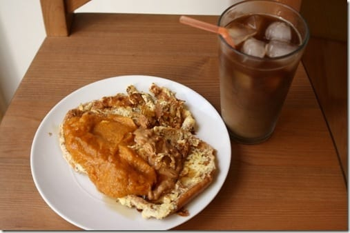 breakfast with iced coffee