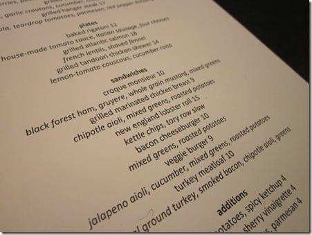 Tory Row menu