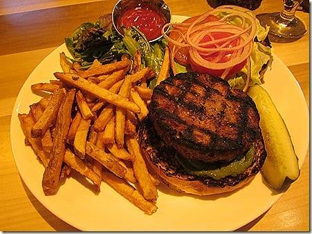 Tuna burger and fries