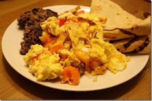 eggs and beans for dinner