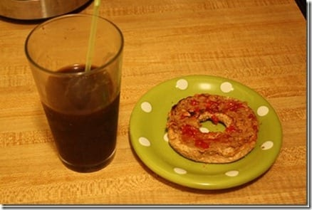 bagel and iced coffee