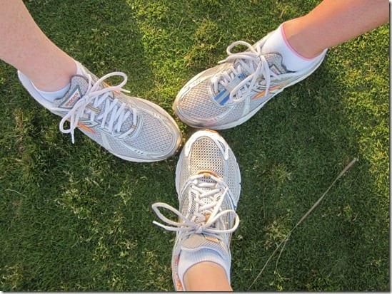 three running shoes