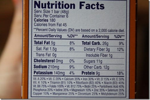 Luna Bar Chocolate Chunk nutrition info