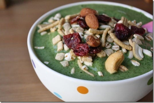 green smoothie with trail mix