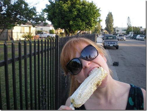 monica eating corn thumb The Tamale Lady