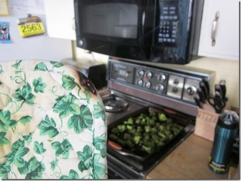 pot holder on fire