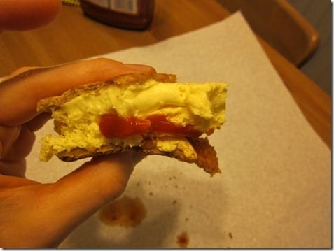 ketchup on egg sandwich
