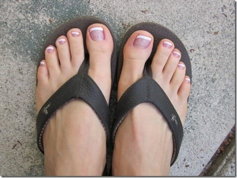 french manicure on feet