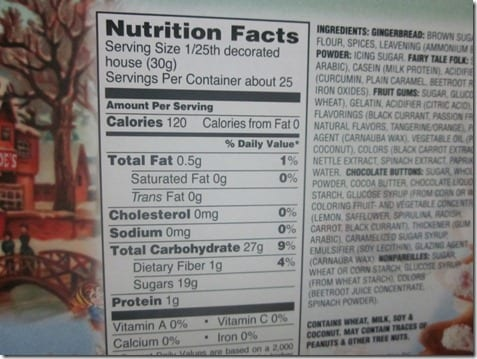 gingerbread house nutrition