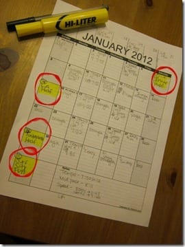 Race Calendar for Jan 2012