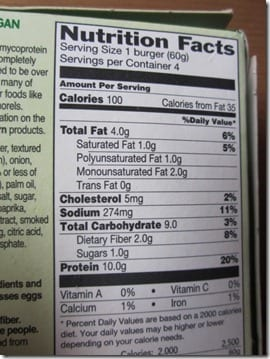 quorn nutritional info