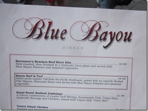 blue bayou menu with prices