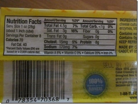 cabot cheese nutrition facts