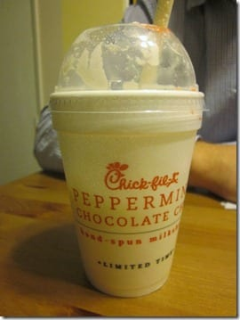 peppermint chocolate chip shake