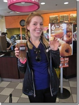 monica with dunkin donuts