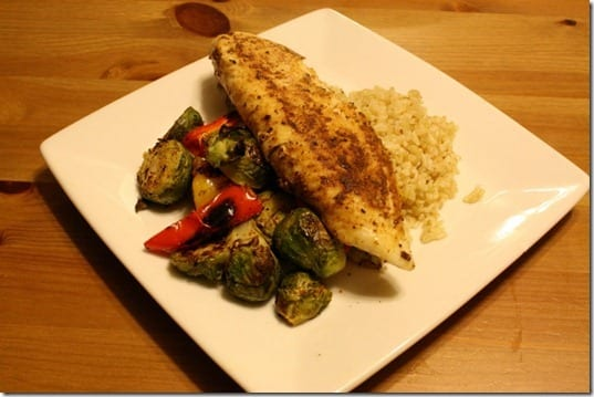 tilapia, brown rice and roasted brussel sprouts.