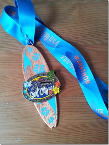 surf city marathon medal