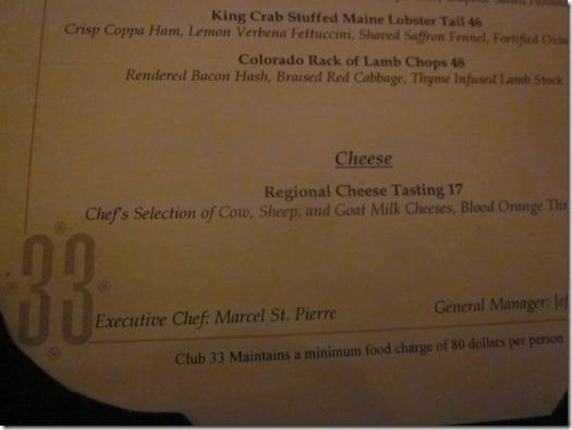 Club 33 menu from Disneyland Park