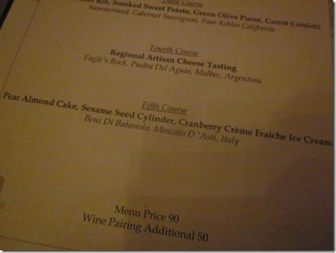 Club 33 menu and wine