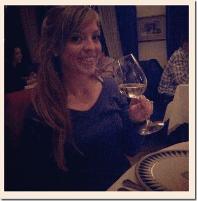 drinking wine at Disneyland Club 33 redhead