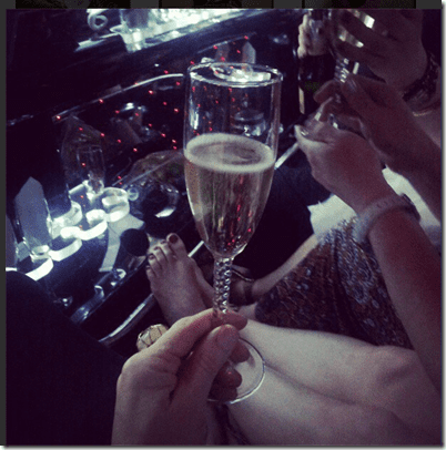 champagne in the limo