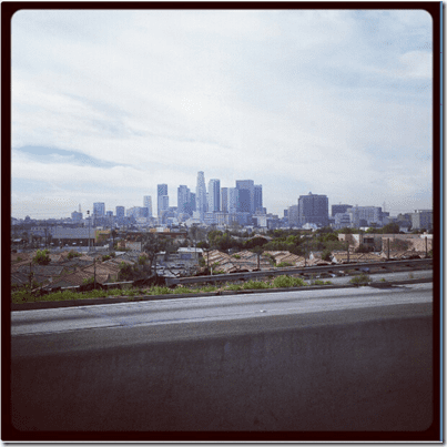 downtown la from the freeway
