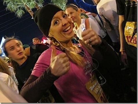 girl at half marathon starting line