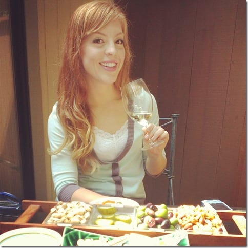 red hair drinking wine