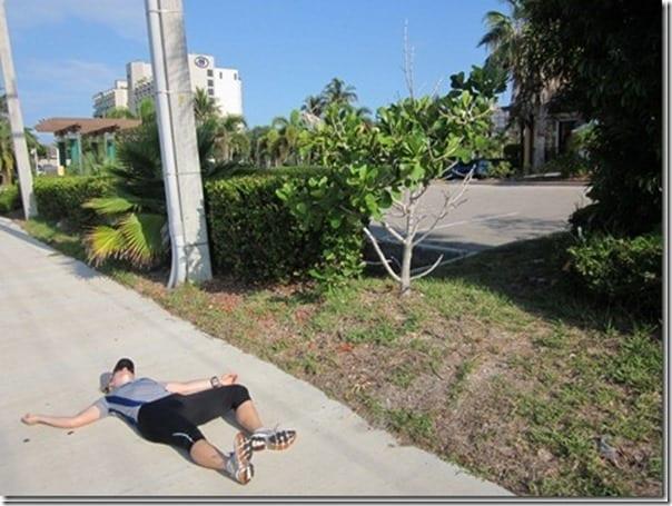 running on the sidewalk