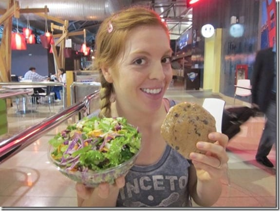 salad and a cookie