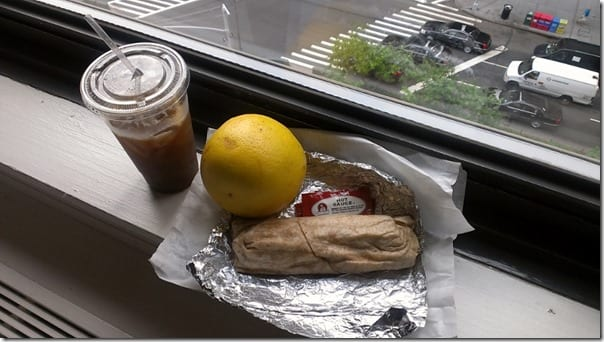 Egg white wrap with spinach and grilled chicken, grapefruit, iced coffee