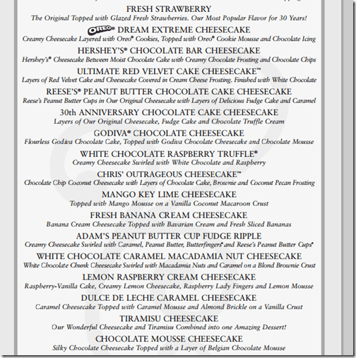 Cheesecake Factory Cheesecake Menu