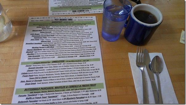 Pete's Breakfast House menu