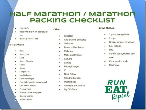 Half Marathon Marathon Packing Checklist 1 thumb Packing for a Destination Marathon or Half Marathon