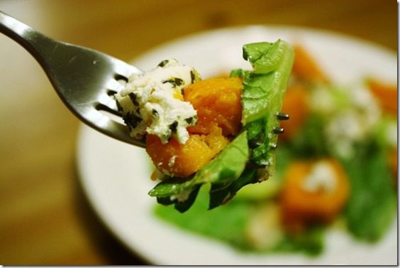 Roasted Sweet Potato and Goat Cheese Salad meatless monday