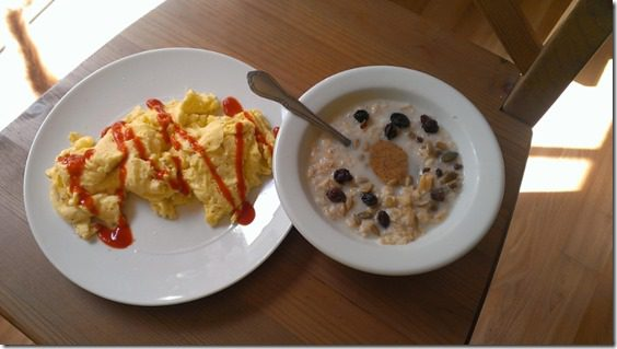 breakfast eggs and oatmeal 800x450 thumb Mexican Feast and Motivation Monday