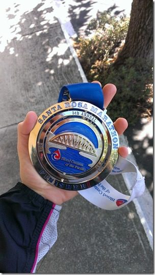 santa rosa marathon medal for finishers 450x800 thumb Santa Rosa Marathon Results and Race Recap