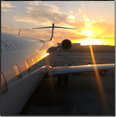 sunset and an airplane