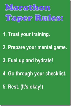 marathon taper rules thumb Marathon Taper Tips Tuesday