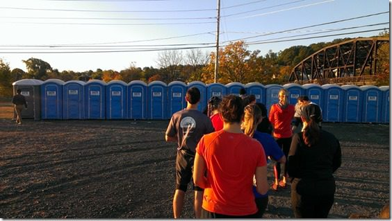 porta potty line at half marathon 800x450 thumb Runner's World Half Marathon Race Recap