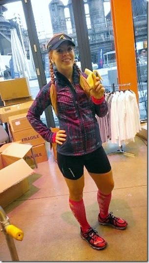 pre run banana 287x510 thumb Runner's World Half Marathon Race Recap