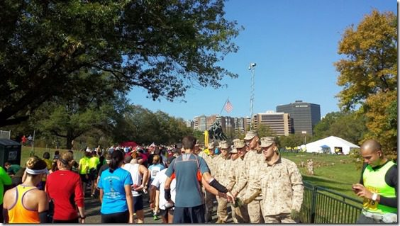 shaking hands with marines 800x450 thumb Marine Corps Marathon Results and Recap