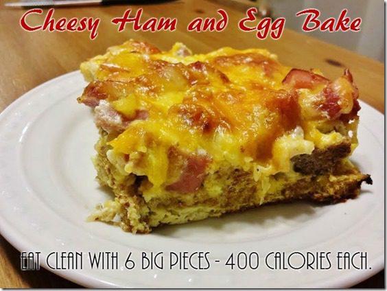 cheesy ham and egg bake breakfast recipe