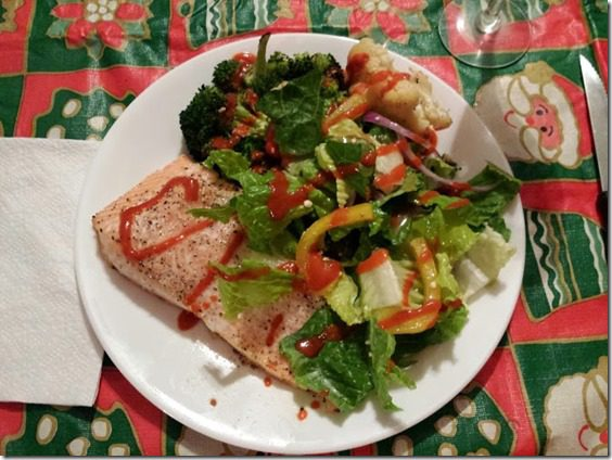 salmon and salad christmas dinner 668x501 thumb Santa Dog and 25 Days of Fitness Day 23